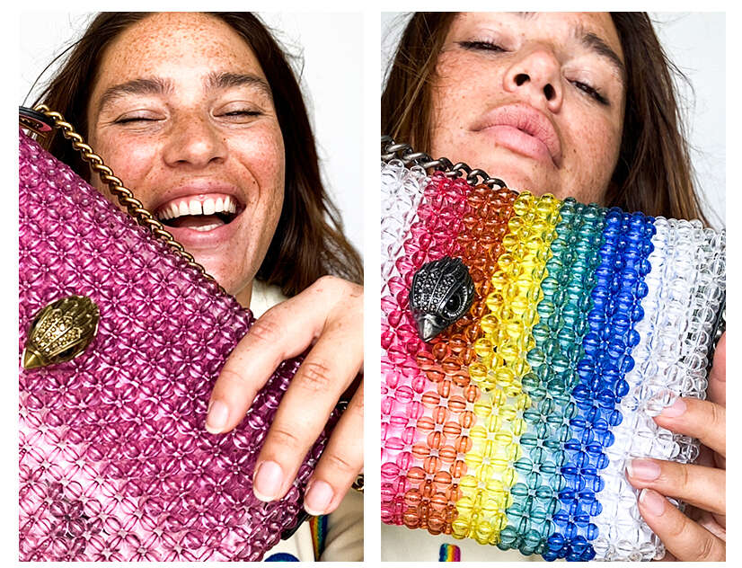Close up of Clementine with the fuchsia and rainbow beaded bag