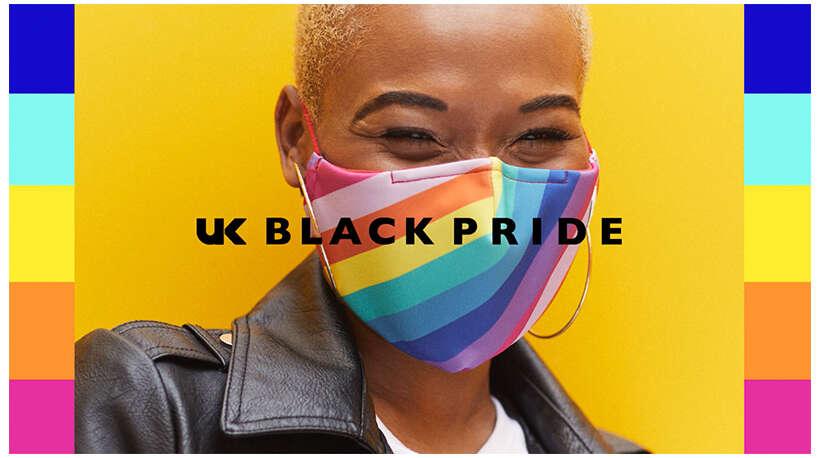 Black Pride, featuring multi coloured rainbow face mask